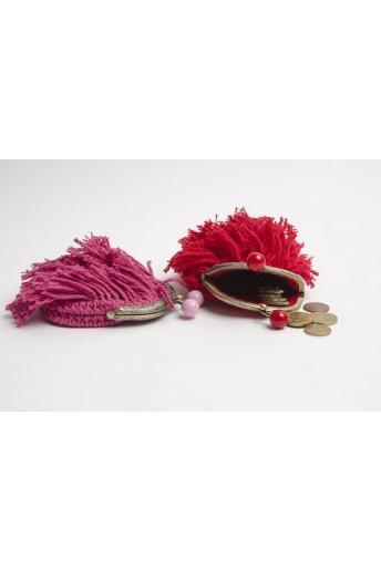 Kit porte monnaie à franges coloris rose