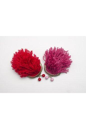 Kit porte monnaie à franges coloris rouge