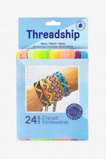Pack of 24 stranded thread skeins - Neon colors