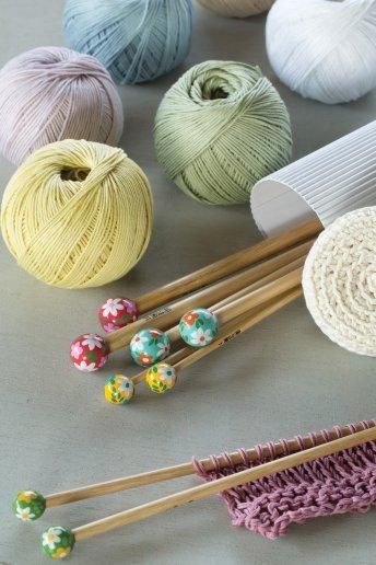Agulhas de tricô em bambu pintadas à mão art. u1754/35