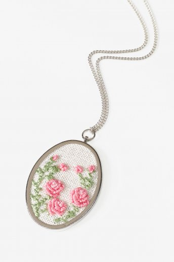 Oval Embroidery Pendant