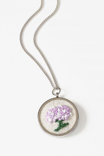 Round Embroidery Pendant