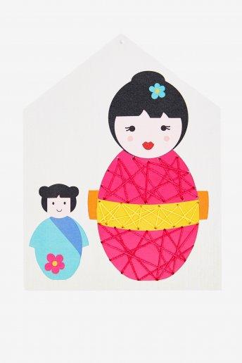 Kit cartoncini da ricamare Mamma e piccola Kokeshi