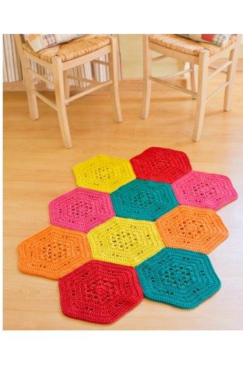 Modello crochet tappeto esagonale