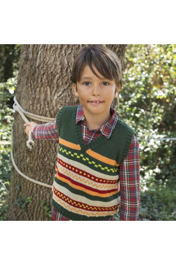 Modello tricot Zoé gilet bambino jacquard multicolor
